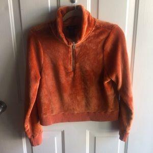 Miss Chievous cozy soft half zip up sweater orange